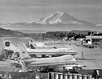 Boeing field with Mt. Rainier in background