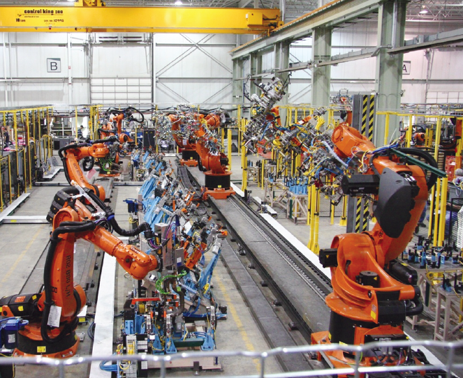 assemply line with KUKA robots