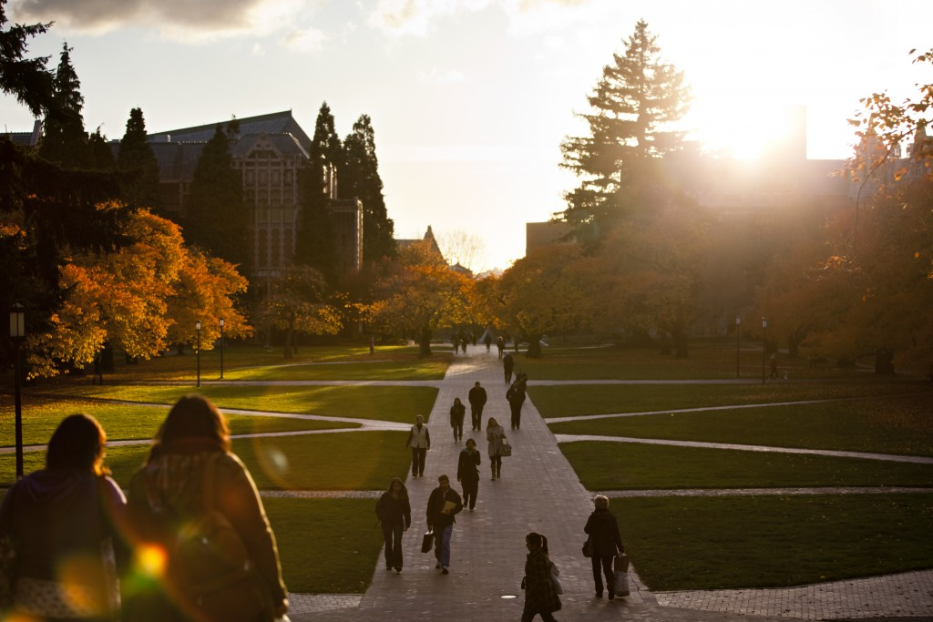 Quad at sunset with fall colors