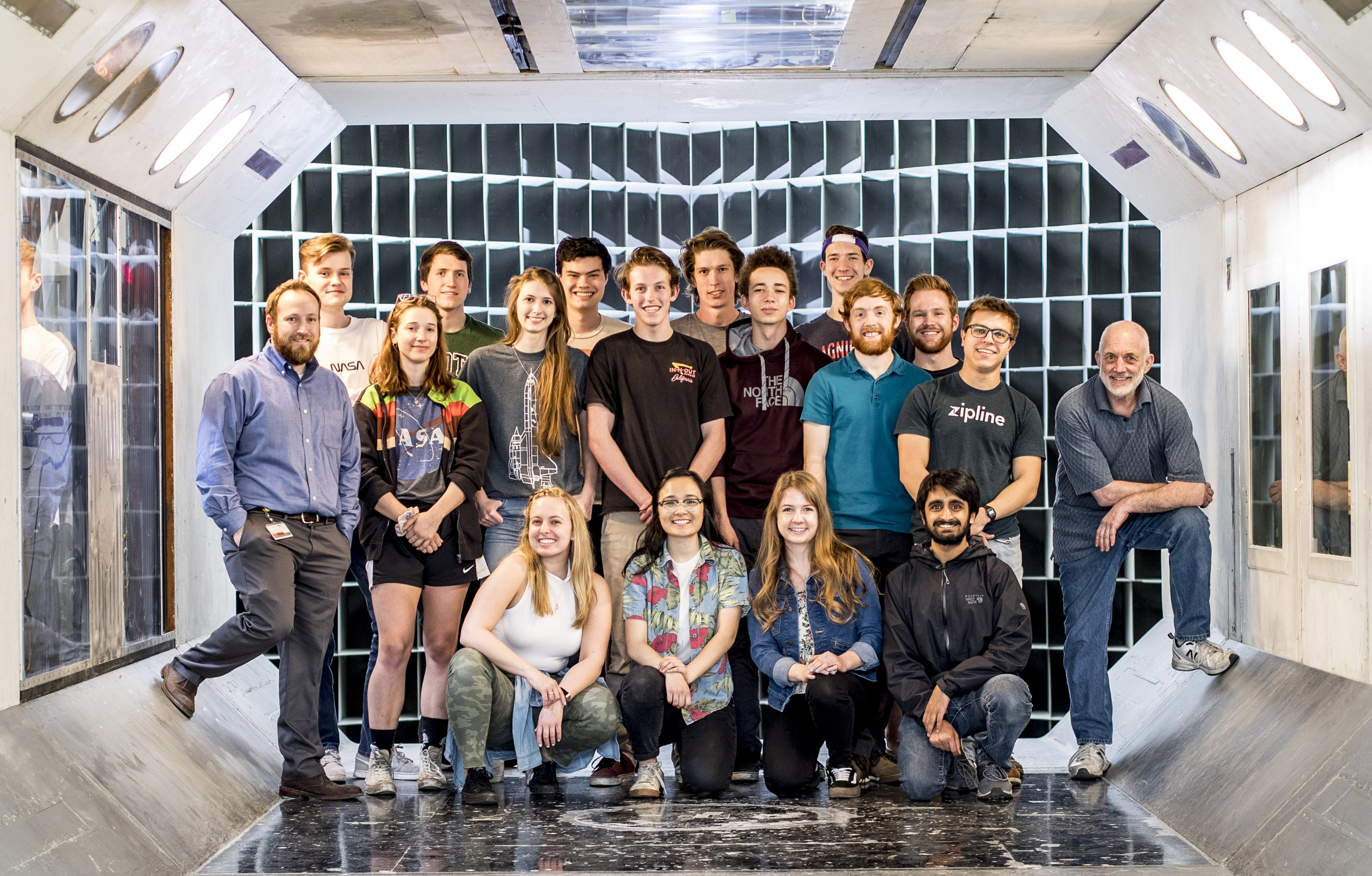 students and staff in the wind tunnel