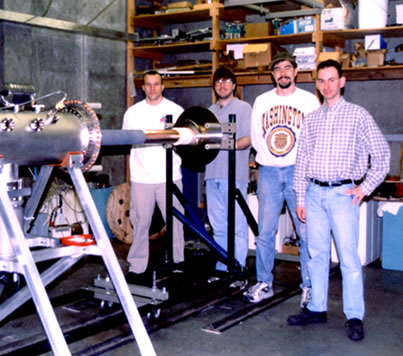 Prof. Shumlak with ZaP apparatus and researchers