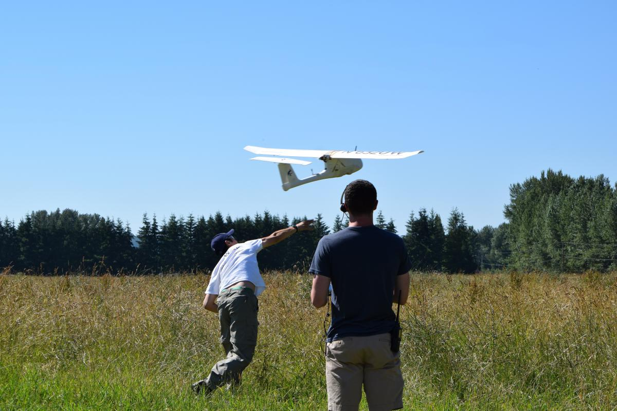 studnets conducting flight test in field