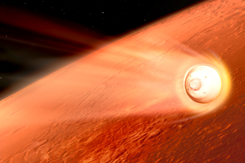 Perseverance Rover Decelerating in the Martian Atmosphere (Illustration)