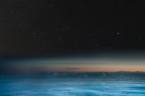 High altitude view of earth at night